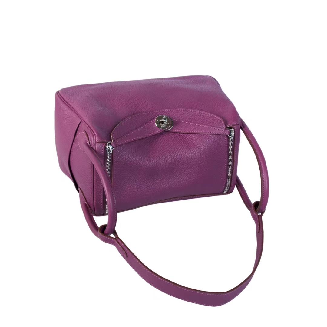 Hermès(爱马仕)lindy 琳迪包 海葵紫 Togo 银扣 30cm