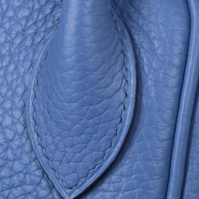 Hermès(爱马仕)lindy 琳迪包 玛瑙蓝内拼海鸥灰 Togo 银扣 30cm