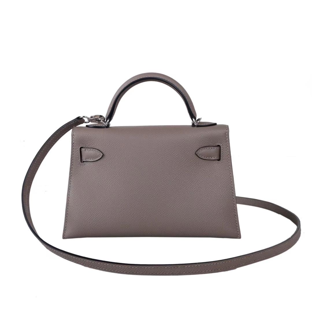 Hermès(爱马仕)miniKelly 2代 银扣 M8沥青灰 epsom皮