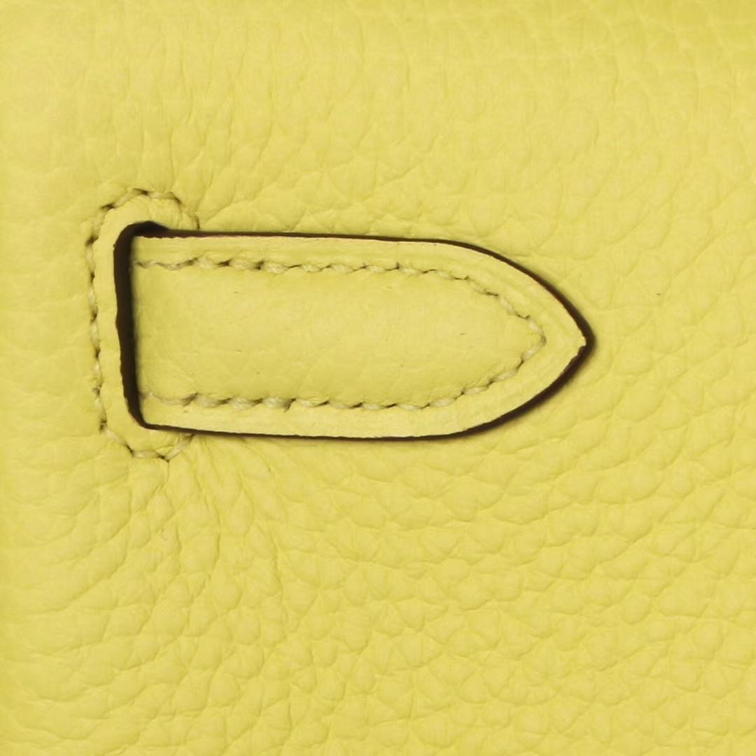 Hermès(爱马仕)kelly ado 双肩包 柠檬黄 togo 银扣 22cm