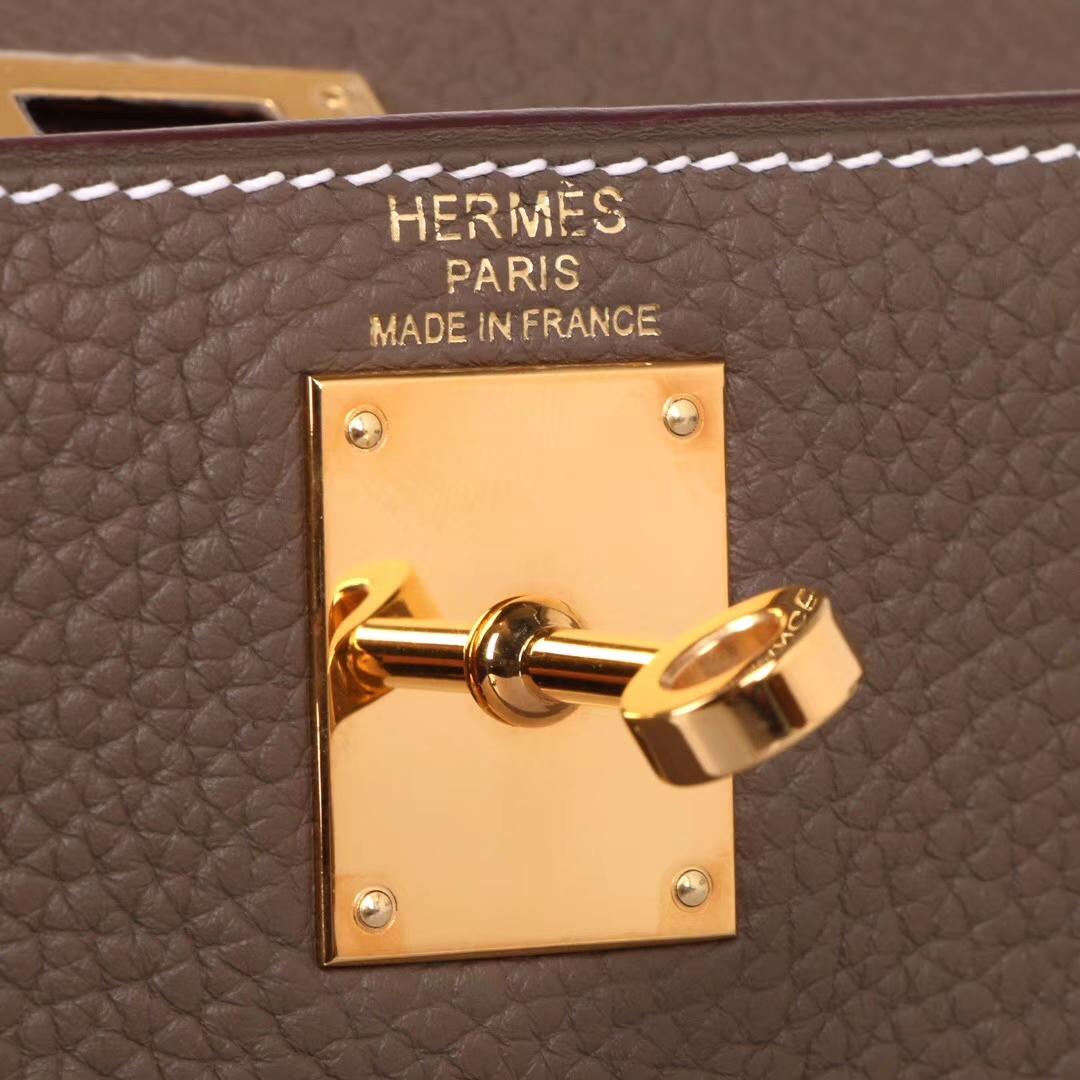 Hermès(爱马仕)kelly ado 双肩包 大象灰 togo 金扣 22cm