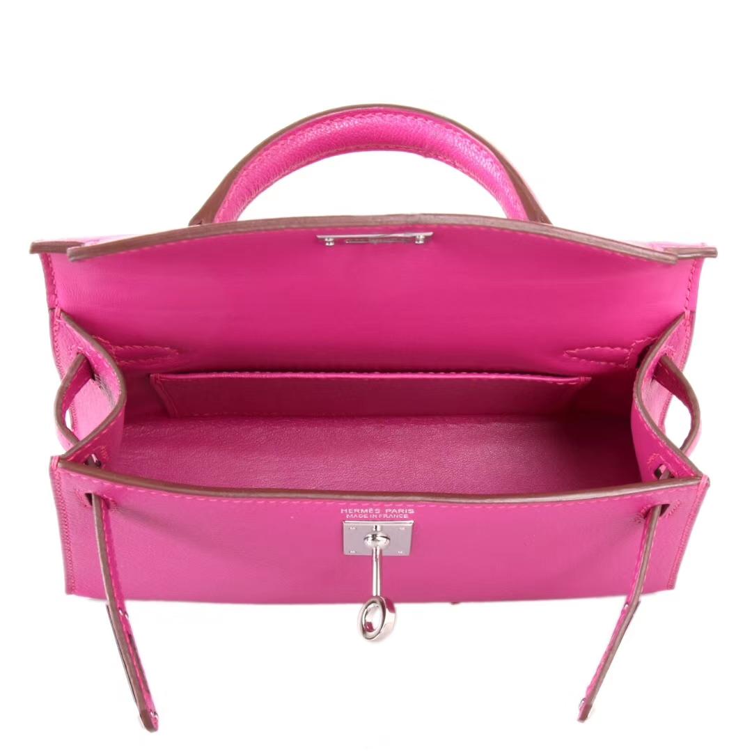 Hermès(爱马仕)Minikelly 迷你凯莉 L3玫瑰紫 山羊皮 银扣 2代