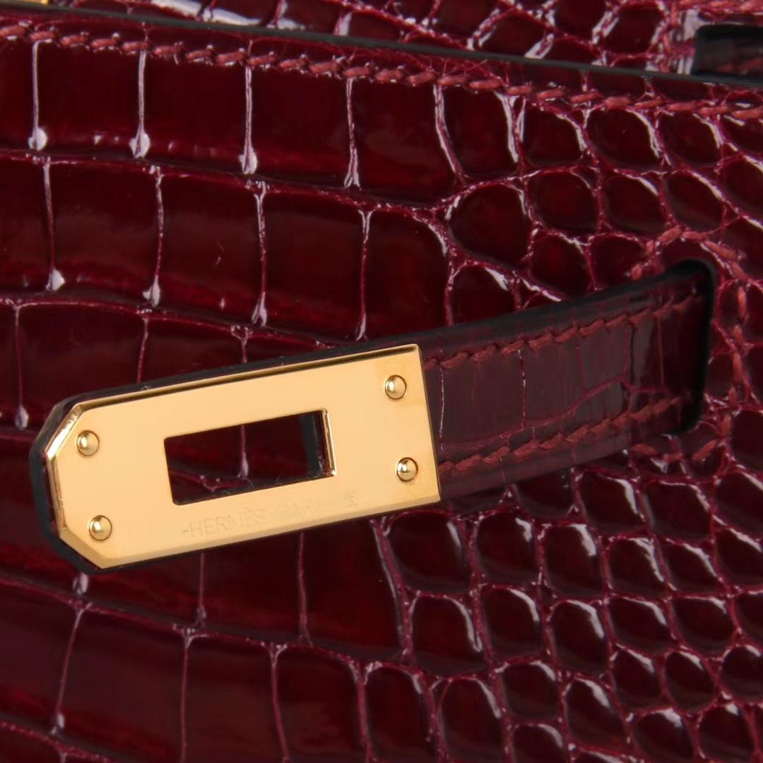 Hermès(爱马仕)Minikelly 迷你凯莉 F5勃艮第酒红 亮面鳄鱼 金扣 2代