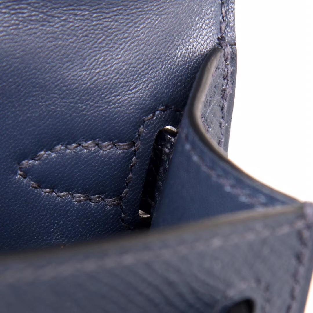 Hermès(爱马仕)Minikelly 迷你凯莉 午夜蓝 原厂御用Epsom皮 金扣 2代