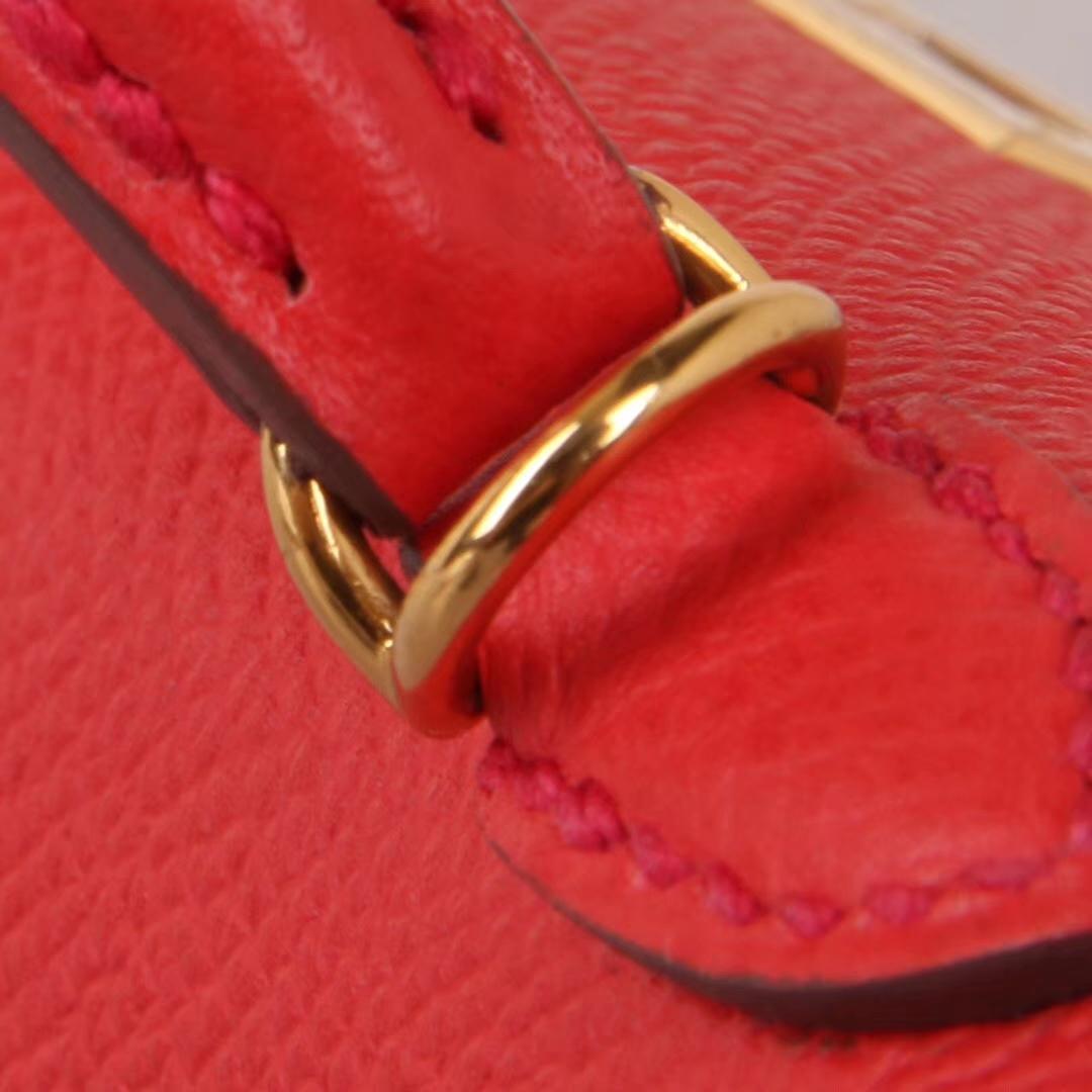 Hermès(爱马仕)Minikelly 迷你凯莉 番茄红 原厂御用Epsom皮 金扣 2代