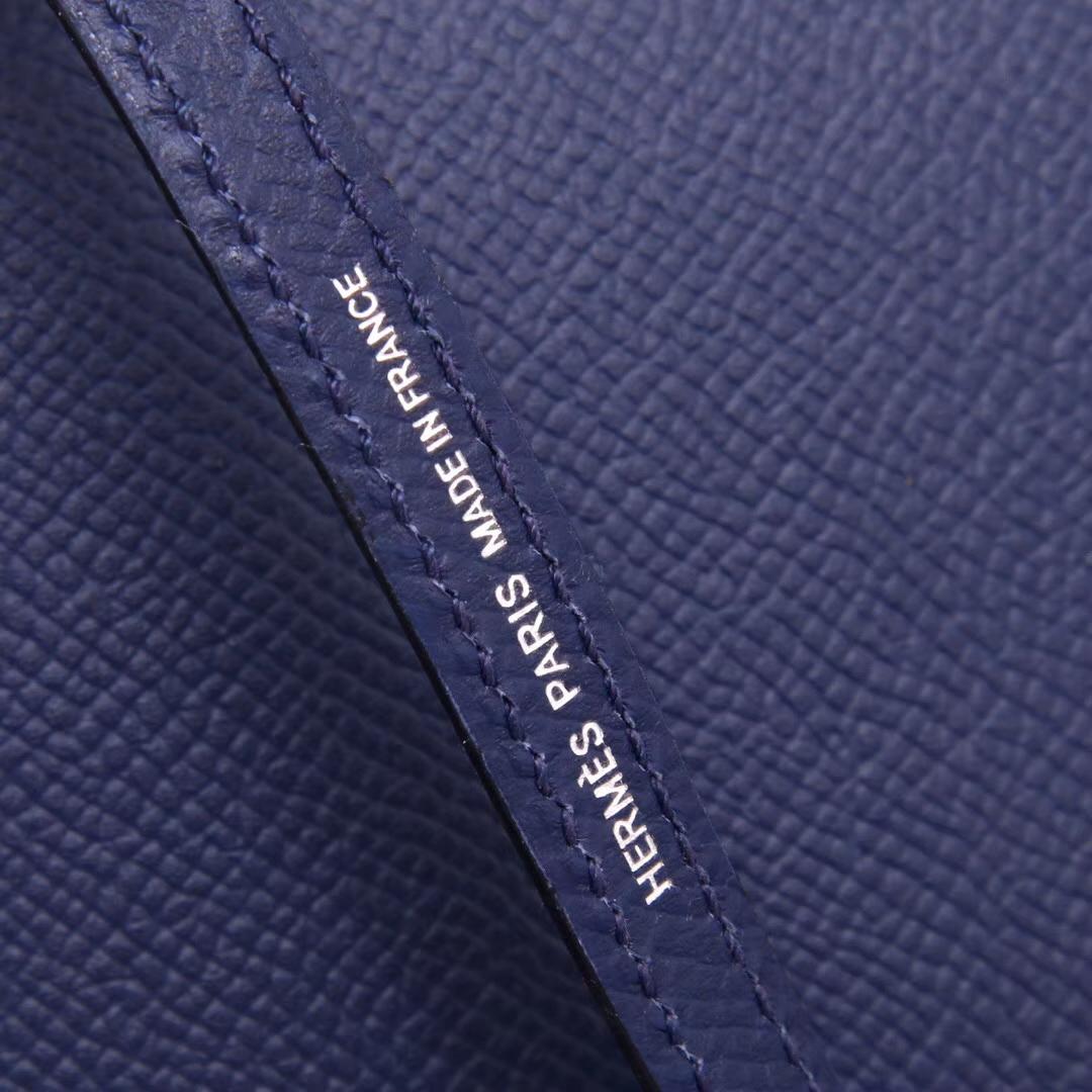 Hermès(爱马仕)Minikelly 迷你凯莉 宝石蓝 原厂御用Epsom皮 银扣 2代
