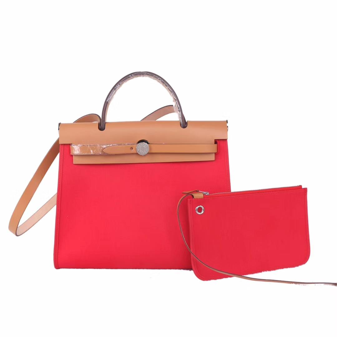 Hermès(爱马仕)herbag 金棕马鞍皮包盖拼红色帆布 31cm 现货