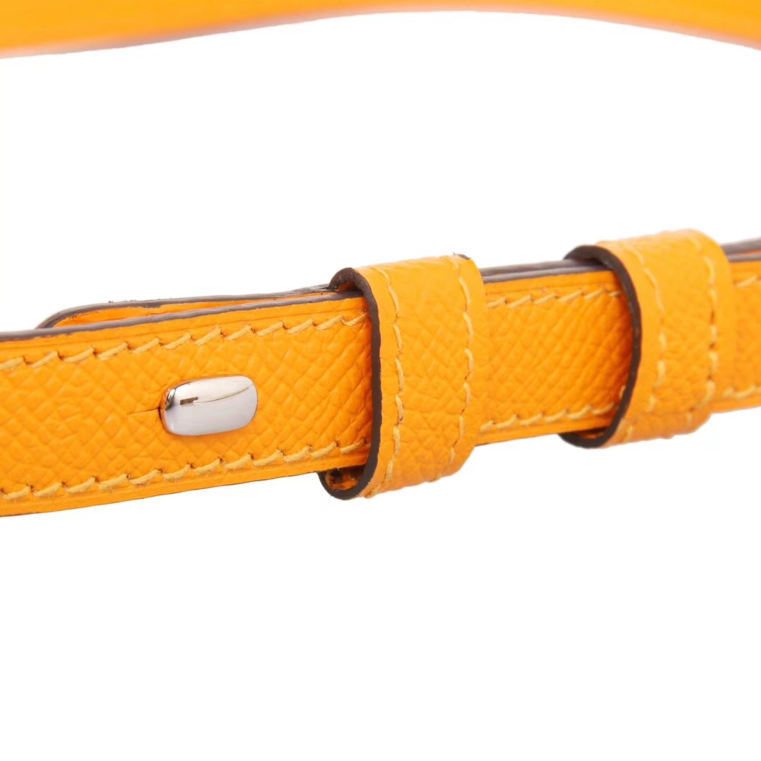 Hermès(爱马仕)MIDI 9V太阳黄 原厂御用epsom皮 银扣 18cm