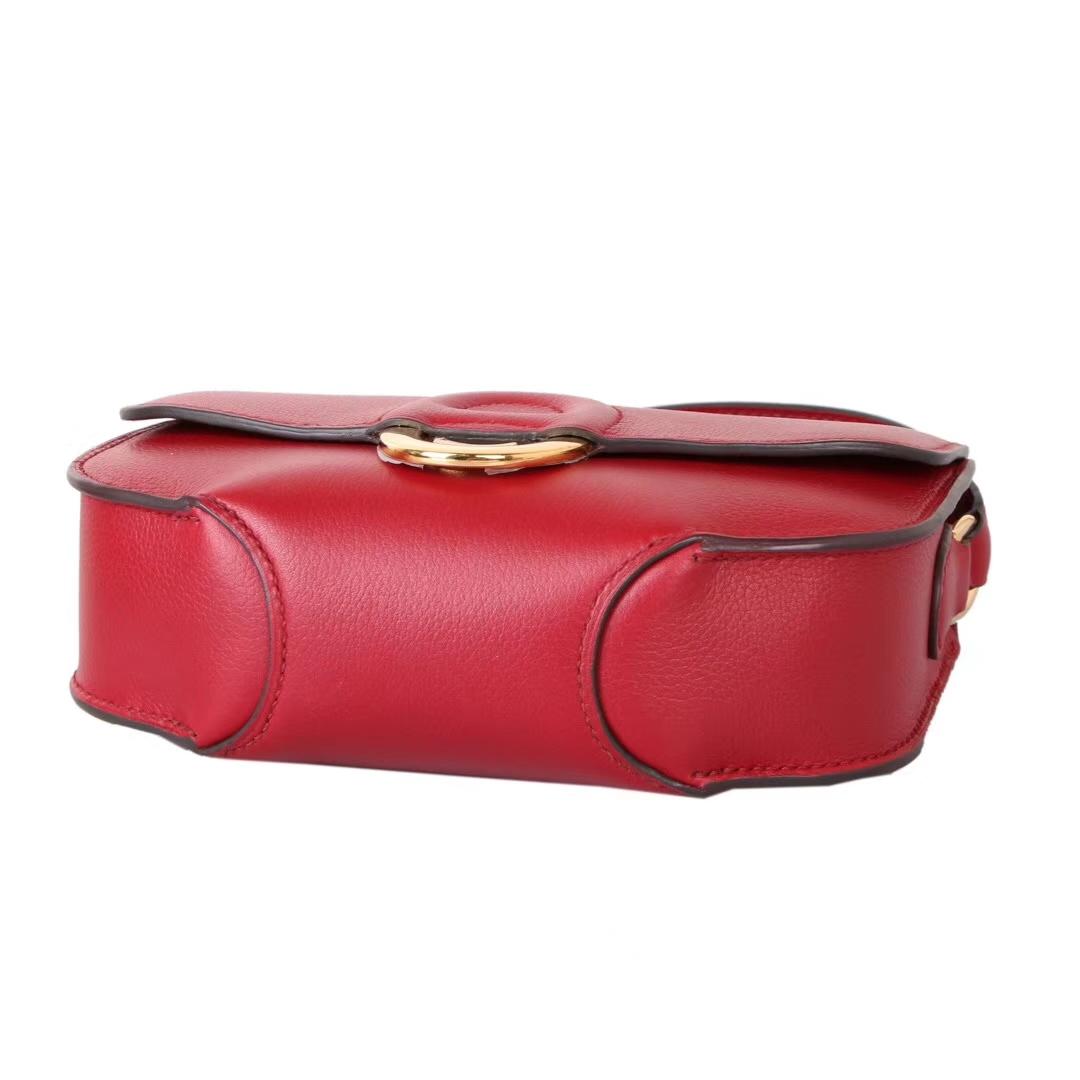 Hermès(爱马仕)MIDI单肩挎包 石榴红 evercolor 银扣 18cm