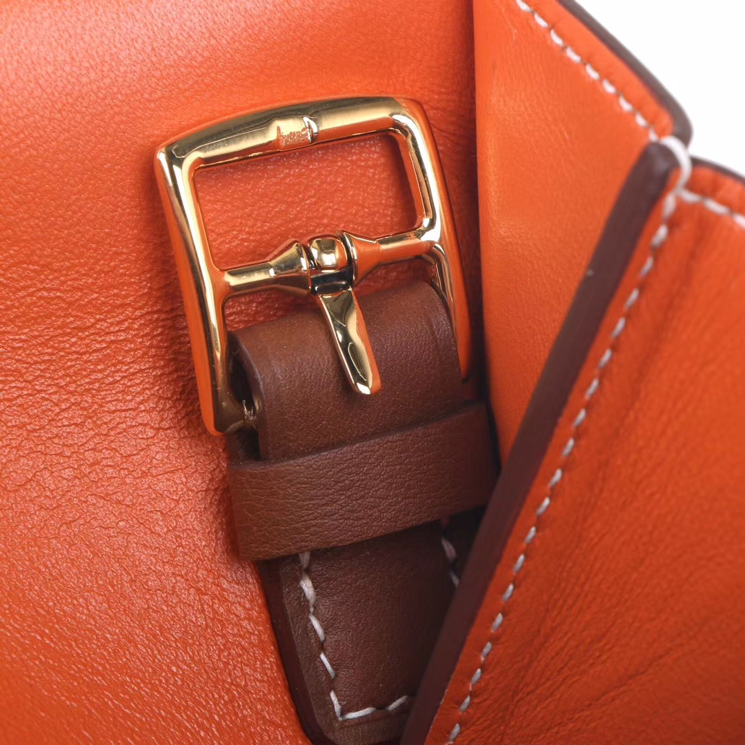 Hermès(爱马仕)halzan 2H金棕 内拼 番茄红 31cm