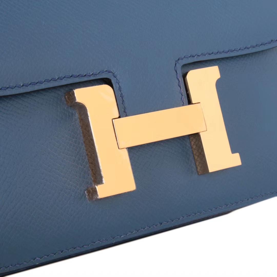 Hermès(爱马仕)Constace 空姐包 玛瑙蓝 原厂御用epsom皮 金扣 19cm