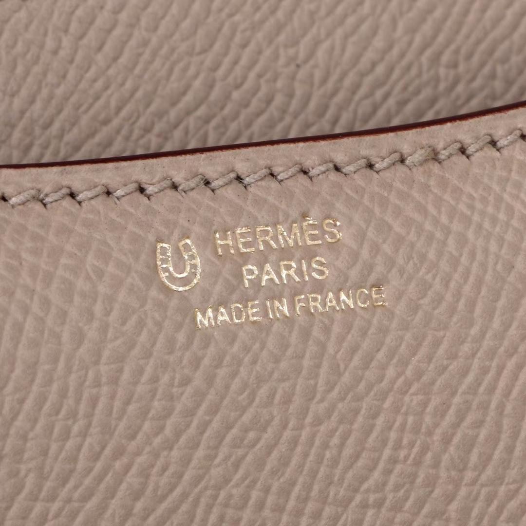 Hermès(爱马仕)Constace 空姐包 风衣灰内拼薰衣草紫 原厂御用epsom皮 玫瑰金扣 19cm