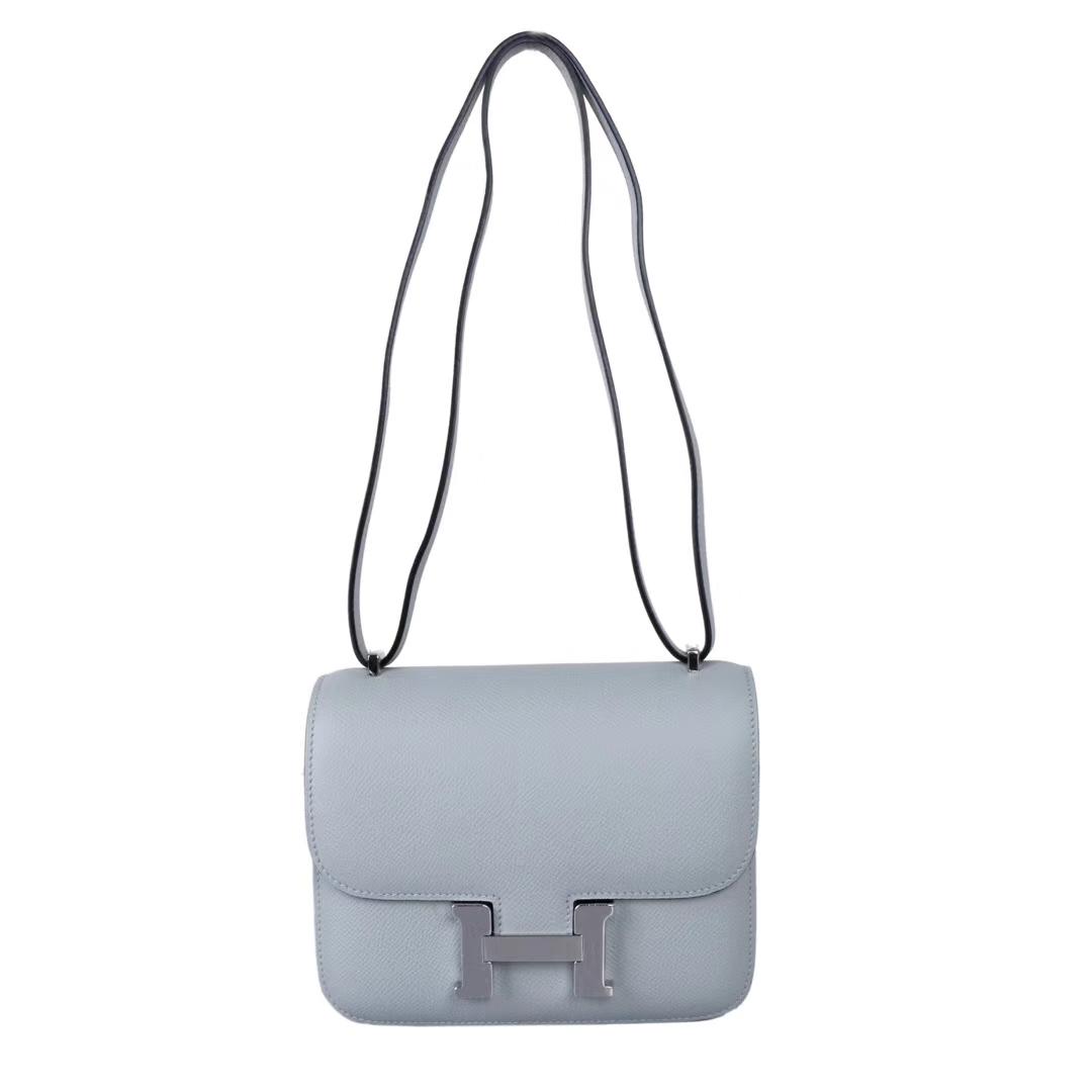 Hermès(爱马仕)Constace 空姐包 冰川灰 原厂御用epsom皮 银扣 19cm