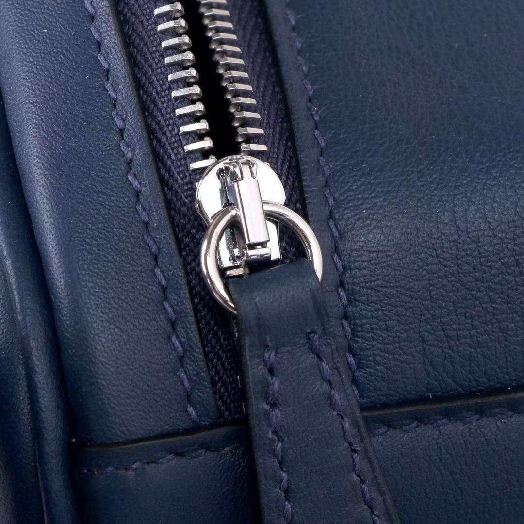 Hermès(爱马仕)Lindy 琳迪包 墨水蓝 编织肩带 原厂御用swift皮 银扣 26cm
