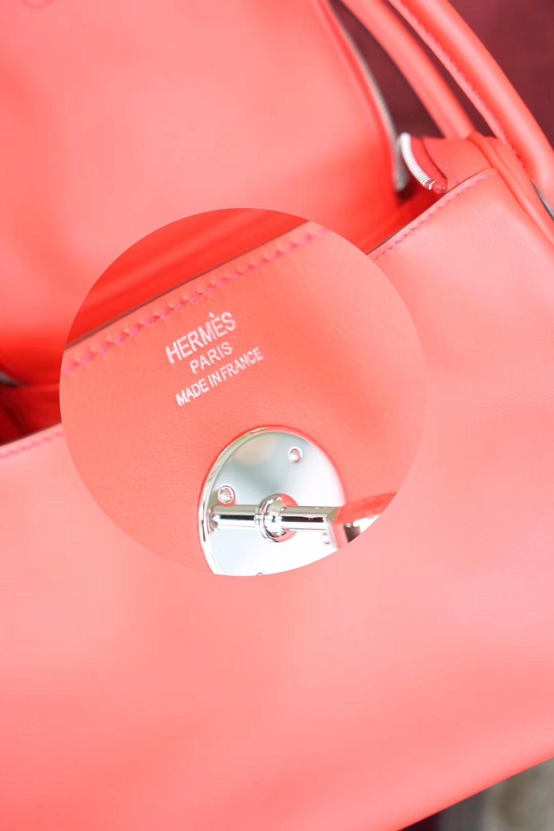 Hermès(爱马仕)Lindy 琳迪包 朱砂红 编织肩带 原厂御用swift皮 银扣 26cm