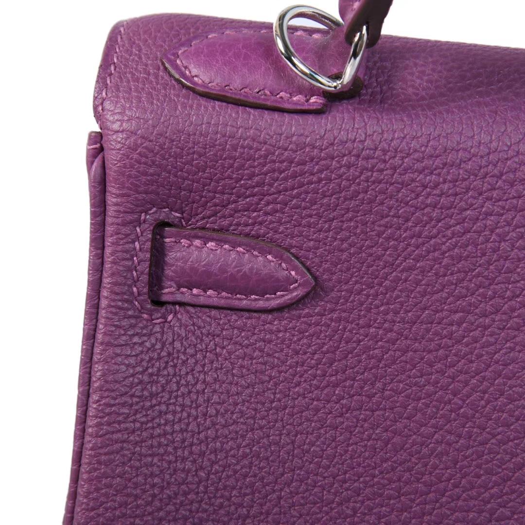 Hermès(爱马仕)kelly 凯莉包 海葵紫 Togo 银扣 28cm