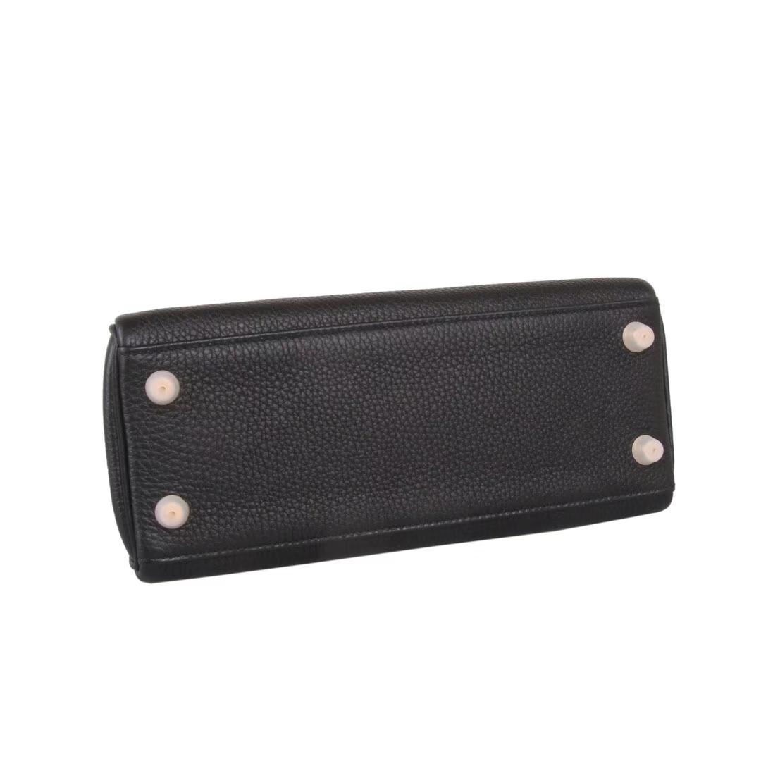 Hermès(爱马仕)kelly 凯莉包 黑色 Togo 银扣 28cm