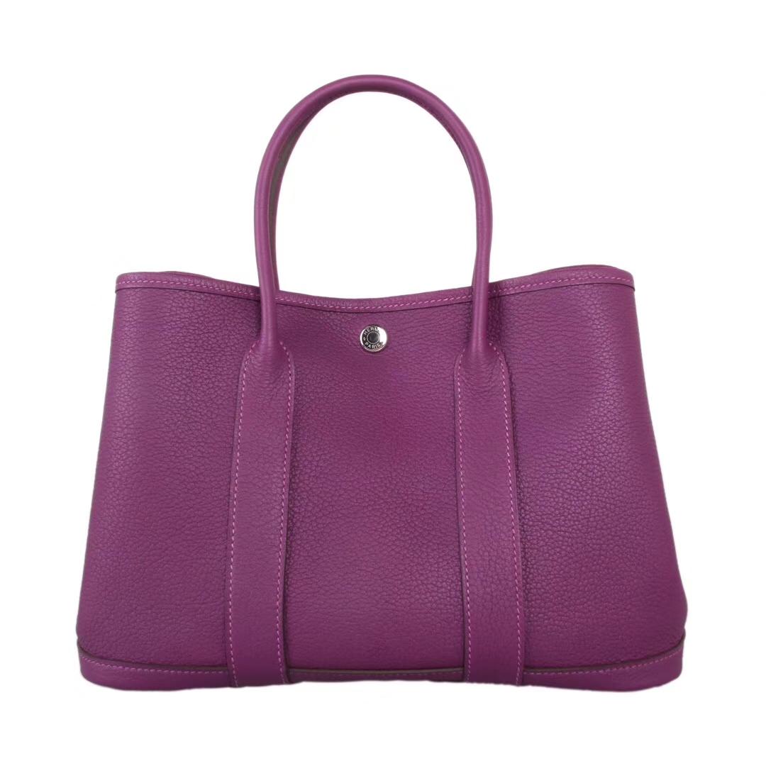 Hermès(爱马仕)garden party花园包 togo 海葵紫 银扣 30CM