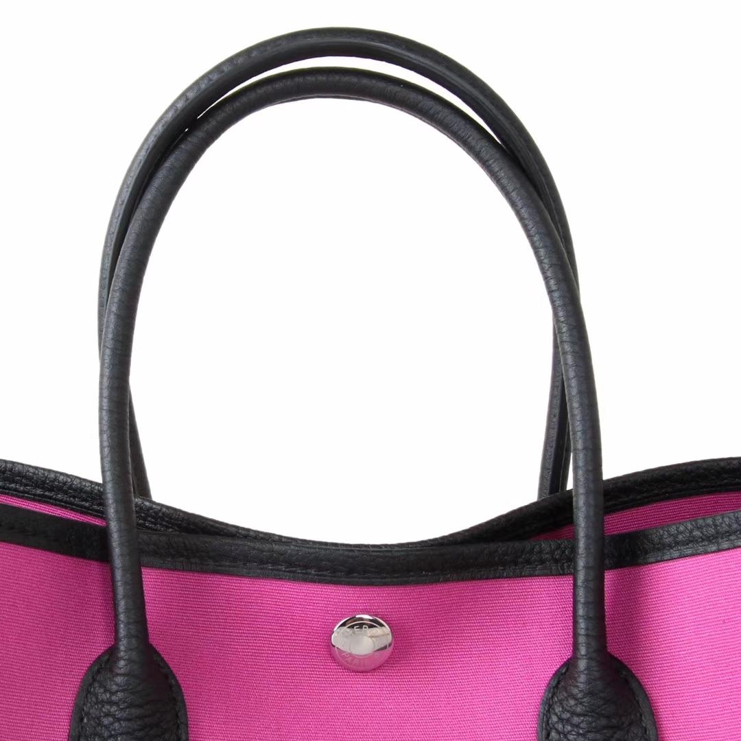 Hermès(爱马仕)garden party花园包 黑色togo拼玫瑰紫帆布 30CM