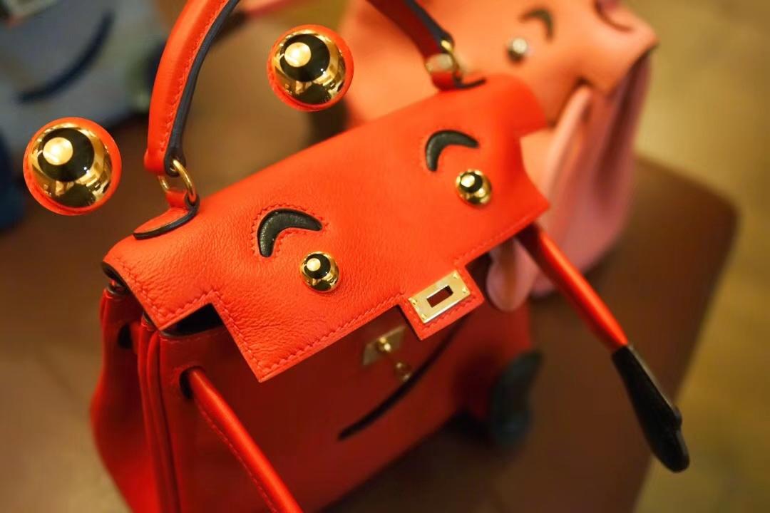 Hermès(爱马仕)Kellydoll 娃娃包 Q5中国红 银扣 18cm