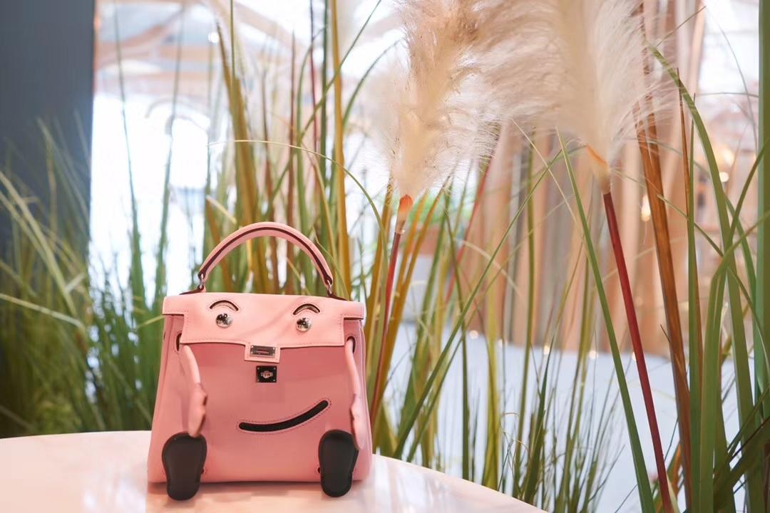 Hermès(爱马仕)Kellydoll 娃娃包 奶昔粉 银扣 18cm