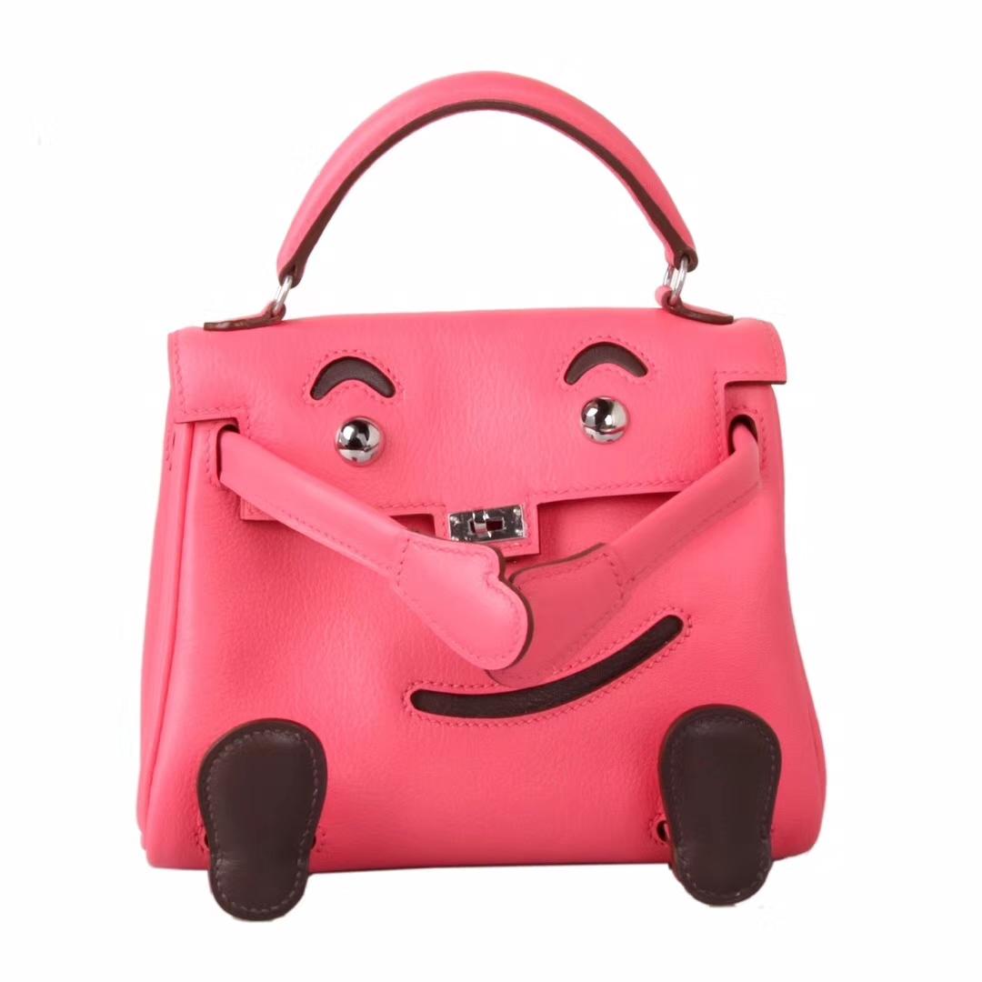 Hermès(爱马仕)Kellydoll 娃娃包 唇膏粉拼咖啡 银扣 18cm