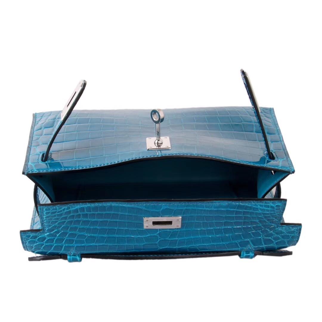 Hermès(爱马仕)miniKelly 一代 22cm 伊兹密尔蓝 银扣 亮面鳄鱼