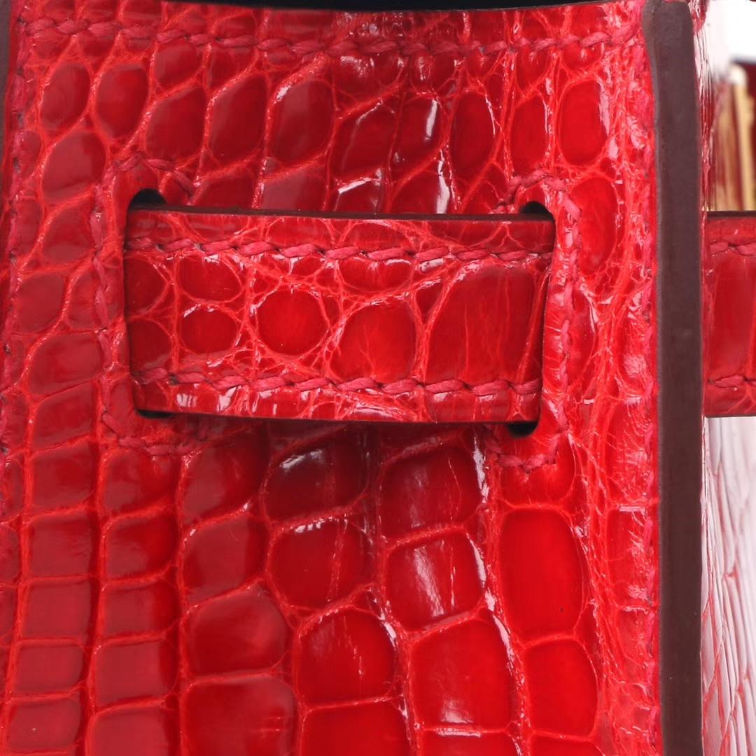Hermès(爱马仕)miniKelly 迷你凯莉 法拉利红 美洲鳄 亮面 2代 金扣 20cm