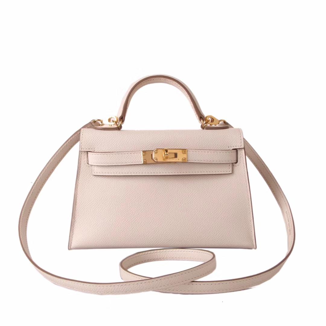 Hermès(爱马仕)miniKelly二代金扣3C奶昔白epsom皮
