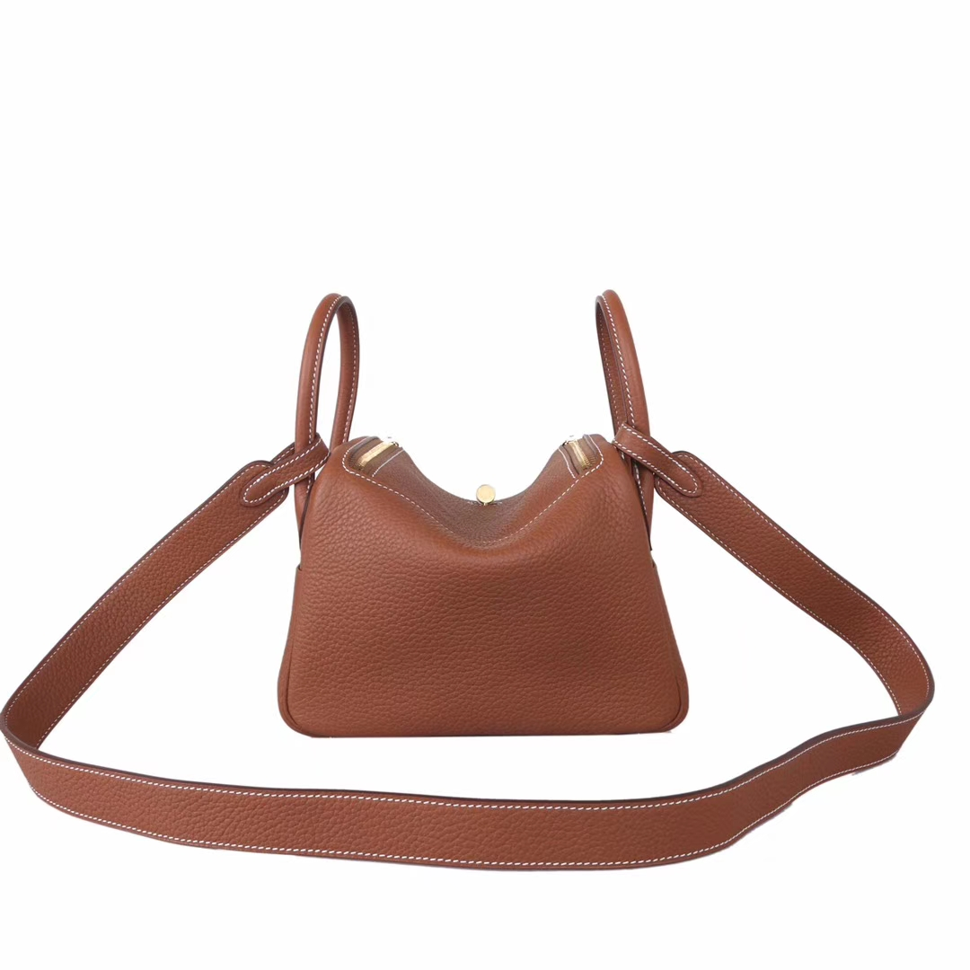 Hermès(爱马仕)mini lindy 迷你 琳迪包 驼色 金扣 20cm