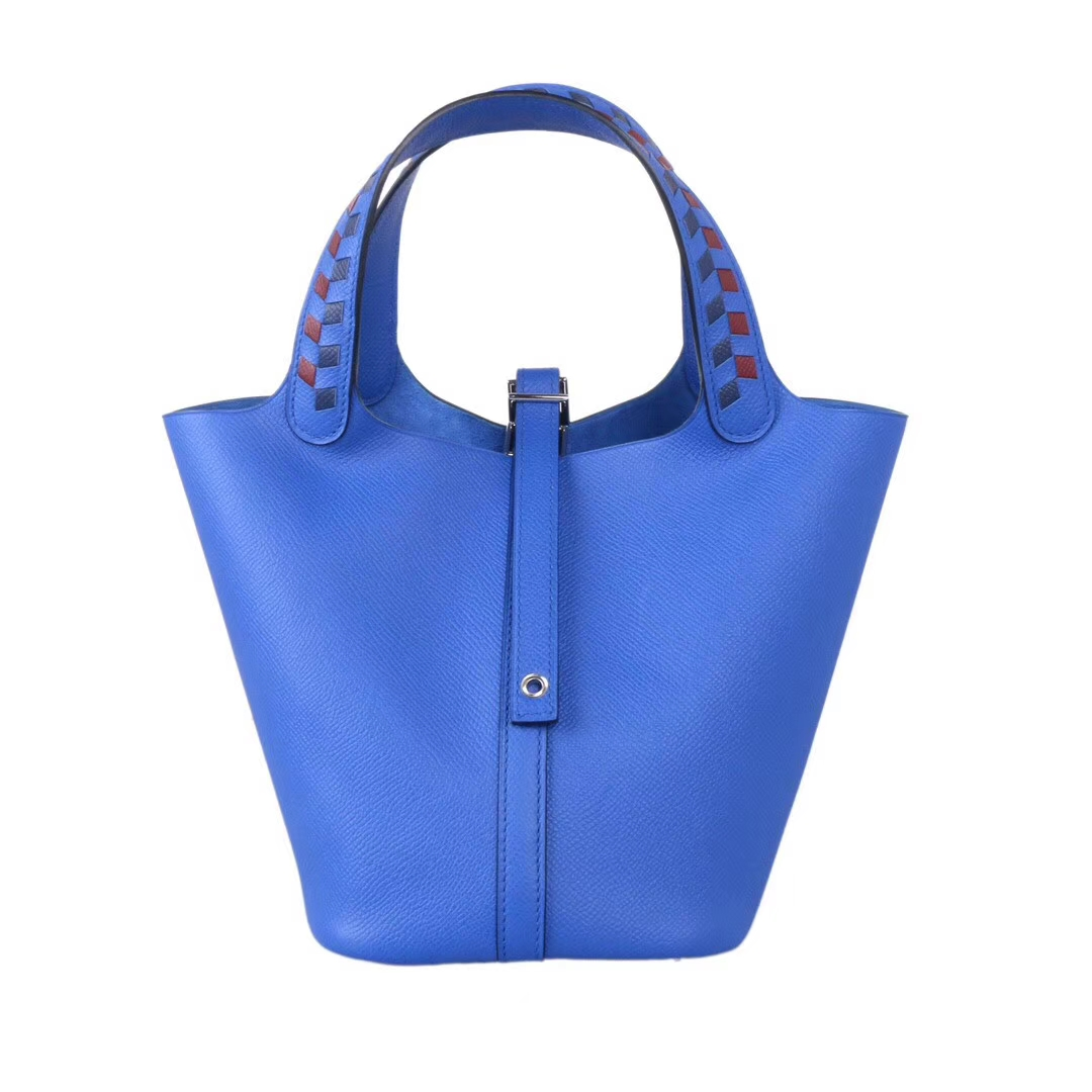 Hermès(爱马仕)Picotin 菜篮包 B3坦桑尼亚蓝 编织系列 epsom皮 银扣 18cm