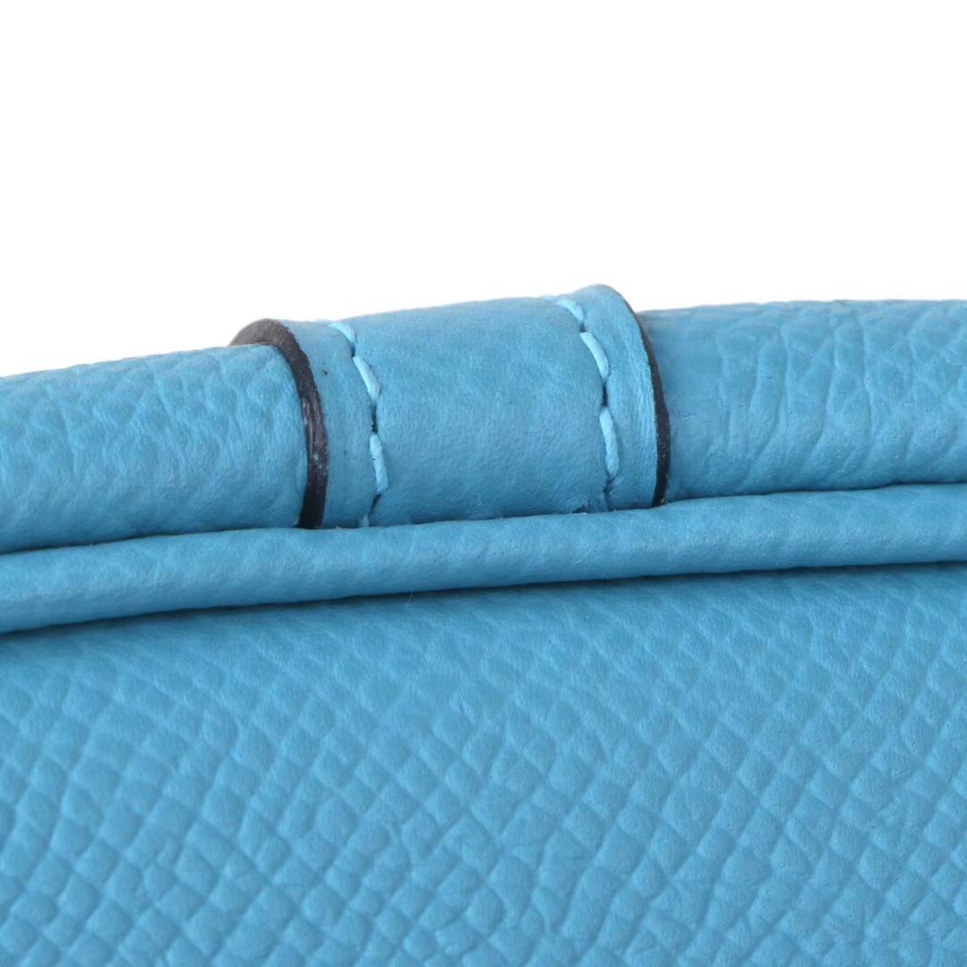 Hermès(爱马仕)Picotin 菜篮包 微风蓝 编织系列 epsom皮 银扣 18cm
