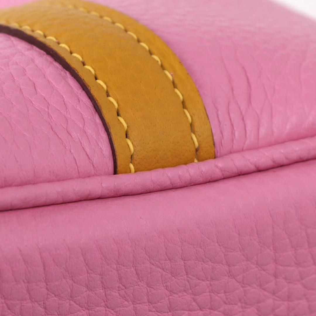 Hermès(爱马仕)Picotin 菜篮包 樱花粉拼琥珀黄 taurillon clemence 银扣 18cm