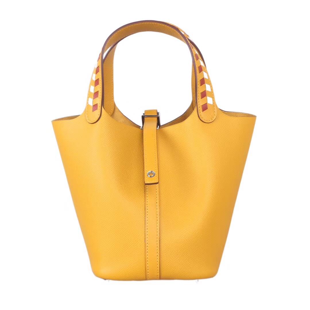 Hermès(爱马仕)Picotin 菜篮包 9D琥珀黄 编织系列 epsom皮 银扣 18cm