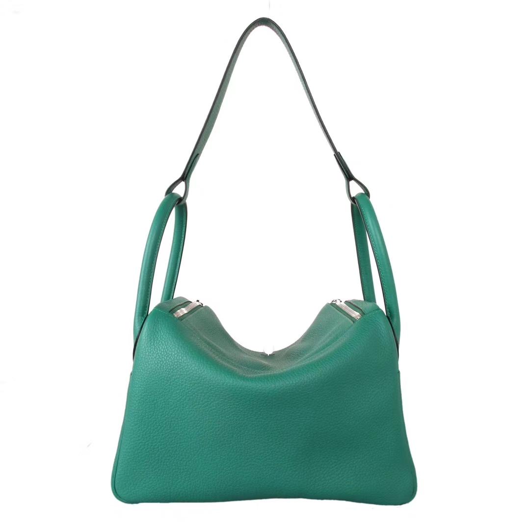 Hermès(爱马仕)lindy 琳迪包 丝绒绿 Togo 银扣 30cm