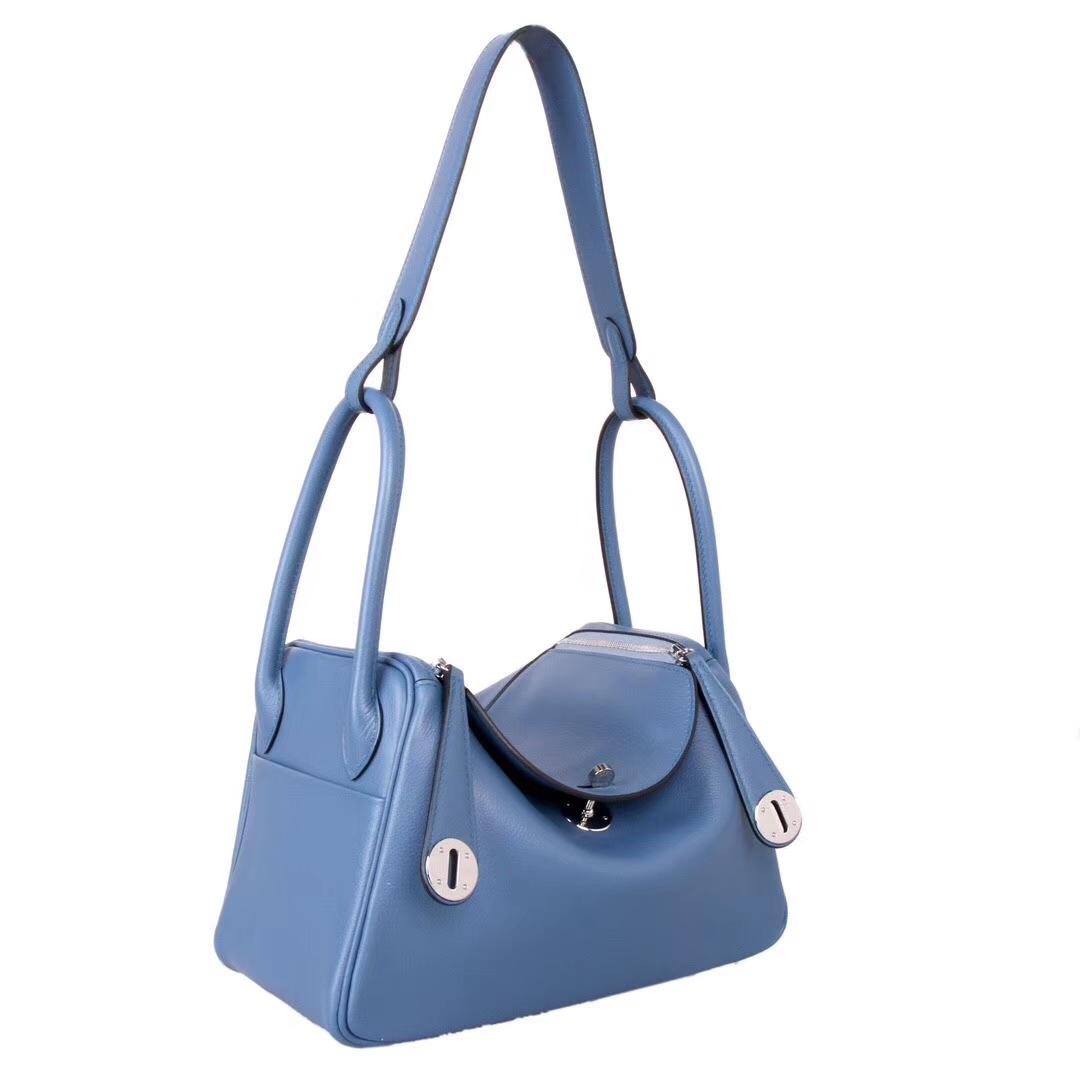 Hermès(爱马仕)lindy 琳迪包 布莱顿蓝 evercolor皮 银扣 30cm