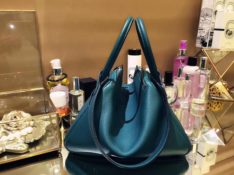 Hermès(爱马仕)Lindy 30CM 孔雀绿 银扣 Togo