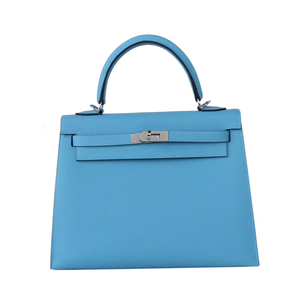 Hermès(爱马仕)Kelly 凯莉包 北方蓝 epsom皮 银扣 25cm 现货