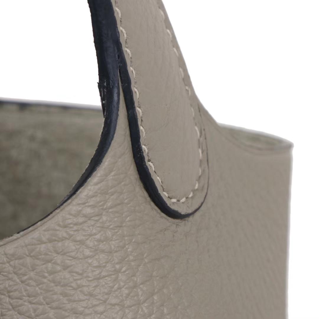 Hermès(爱马仕)Picotin 菜篮包 鼠尾草灰  togo 金扣 18cm