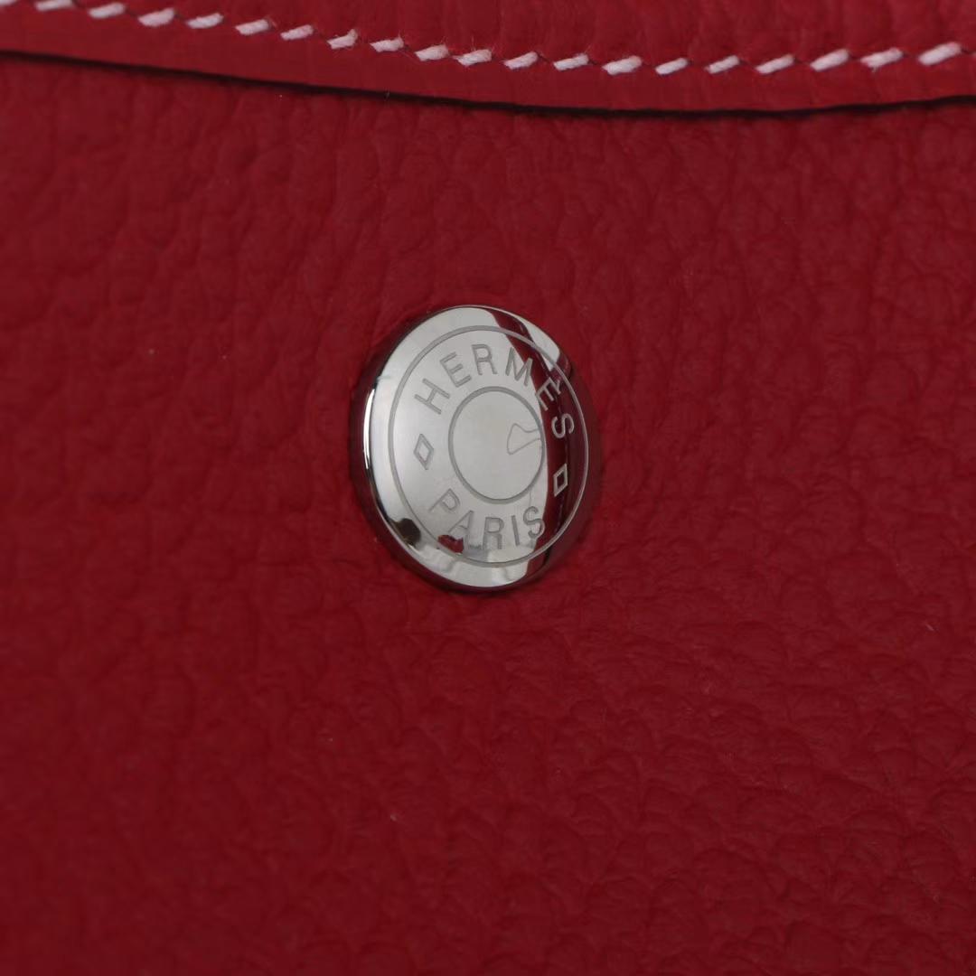 Hermès(爱马仕)garden party花园包 中国红 togo 银扣 36cm