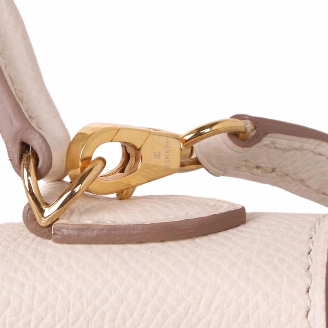 Hermès(爱马仕)mini Kelly二代 金扣 奶昔白 Epsom皮