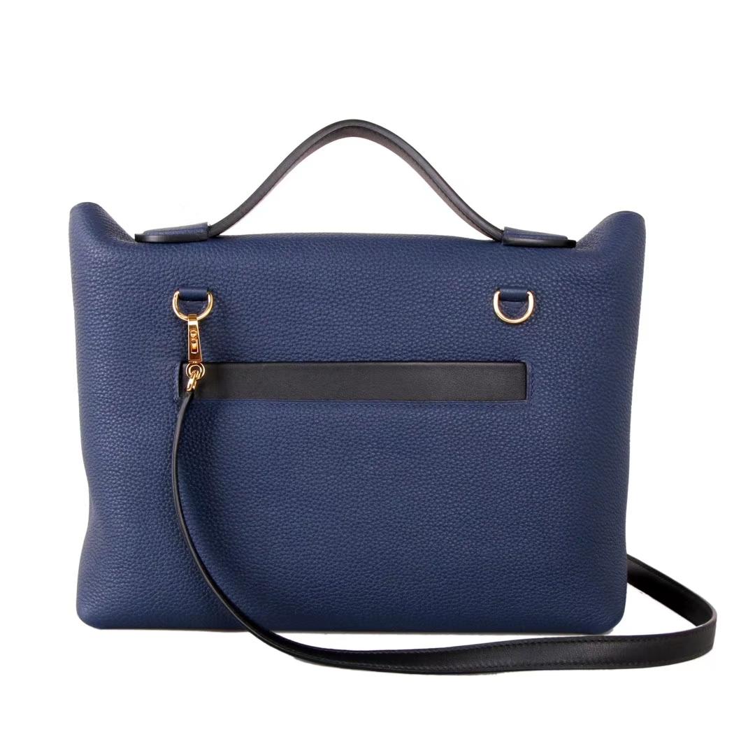 Hermès(爱马仕)Kelly2424 宝石蓝拼黑色 Togo 金扣 29cm