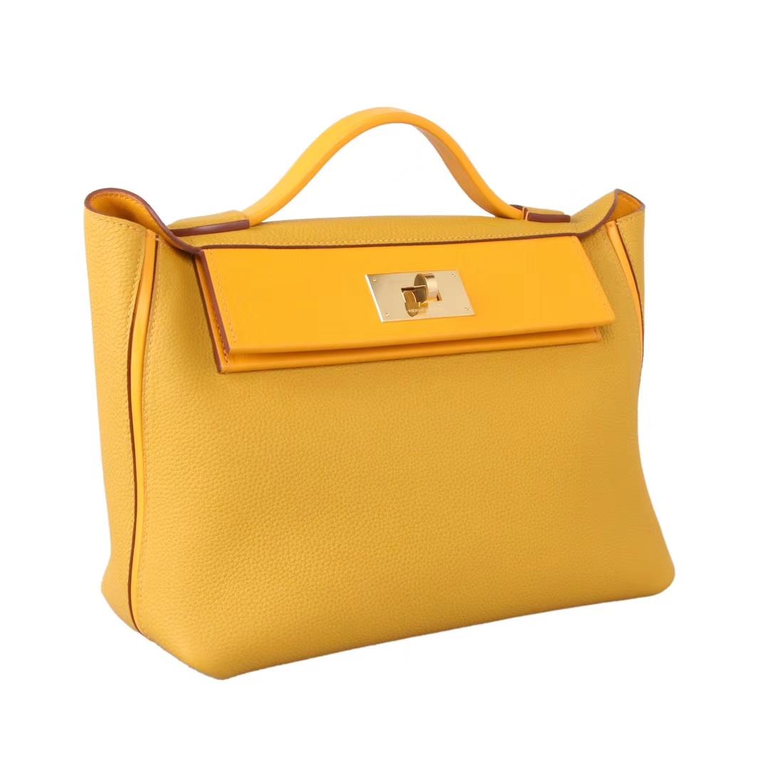 Hermès(爱马仕)Kelly2424 9D琥珀黄 Togo 金扣 29cm
