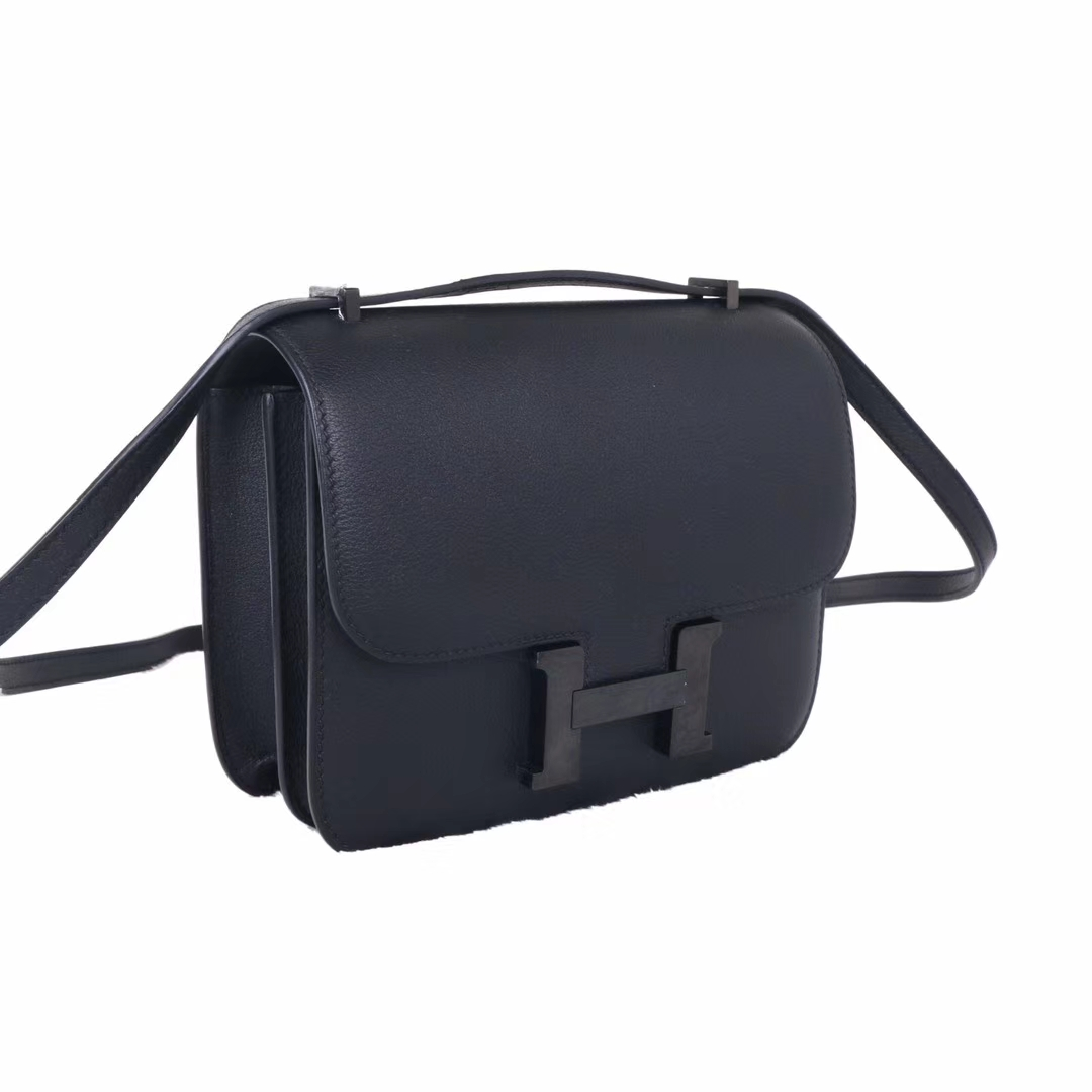 Hermès(爱马仕)Constance 空姐包 黑色 soblock 19cm