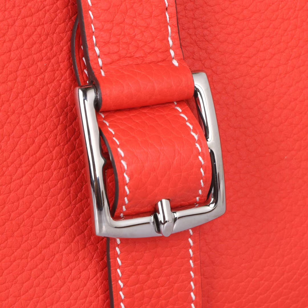 Hermès(爱马仕)Halzan 30cm 银扣 火焰橙 TOGO