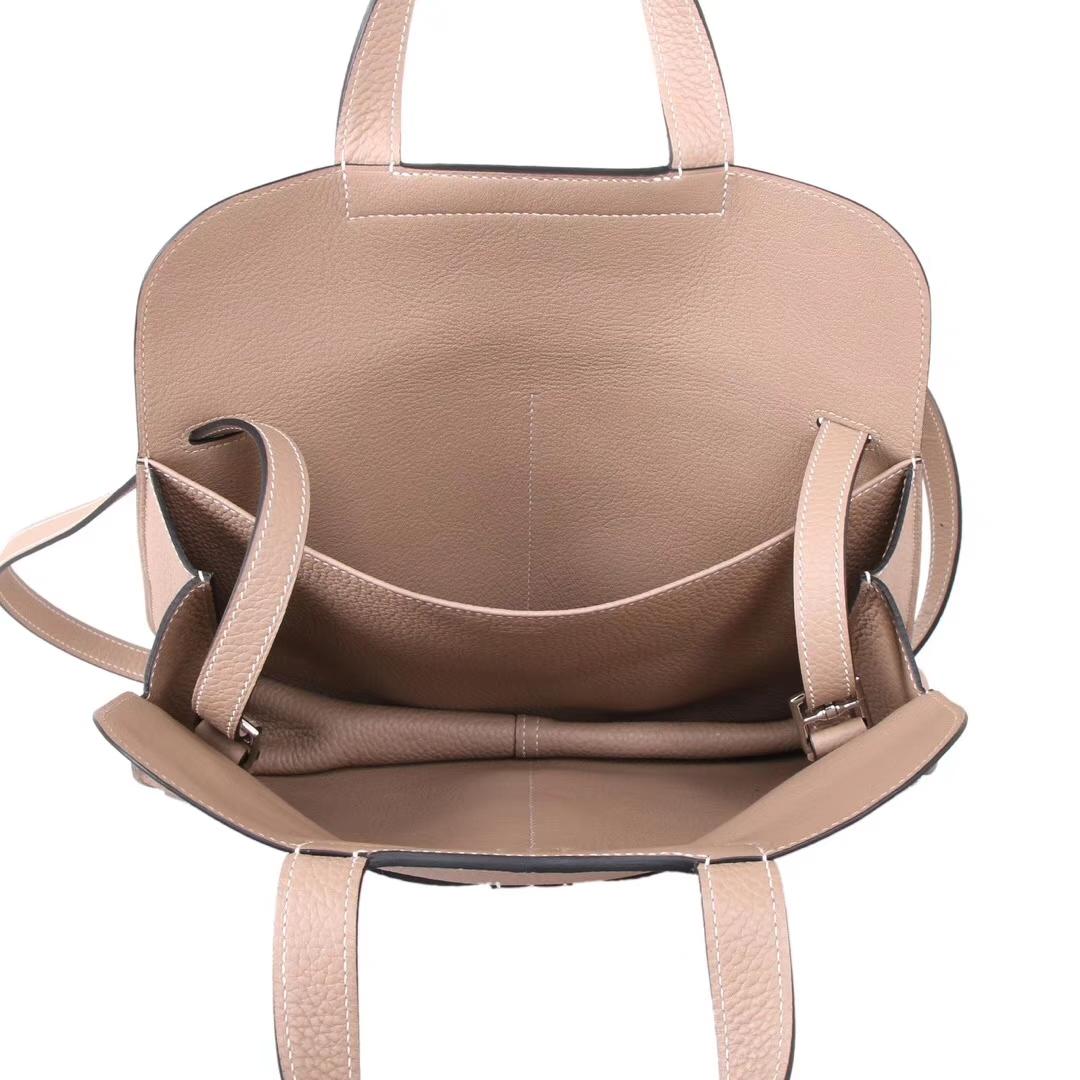 Hermès(爱马仕)Halzan 30cm 银扣 风衣灰 TOGO