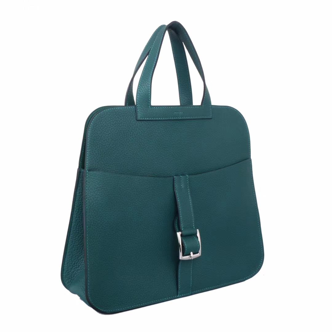 Hermès(爱马仕)Halzan Z6孔雀绿 togo 银扣 31cm