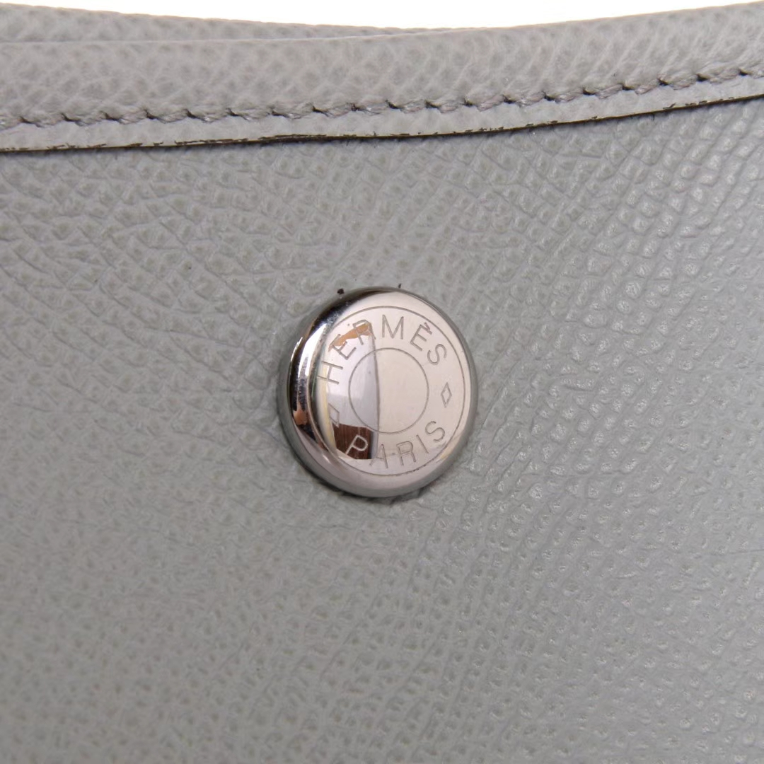 Hermès(爱马仕)Garden Party 花园包 8U冰川蓝 EPSOM 银扣 30cm