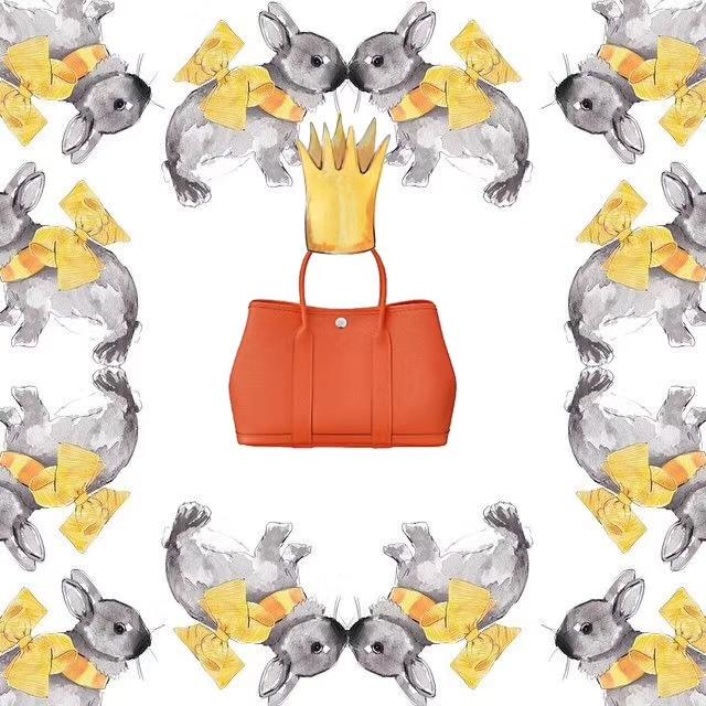 Hermès(爱马仕)Garden Party 花园包 橙色 EP 银扣 30cm
