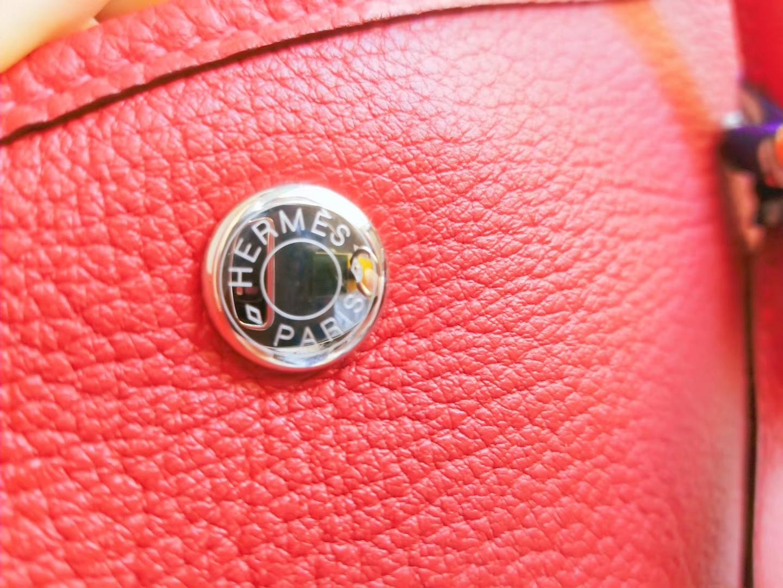 Hermès(爱马仕)花园包36cm5E朱砂红 Negonda 银扣